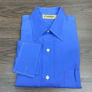 Paul Stuart Solid Blue French Cuff Shirt 15.5-32